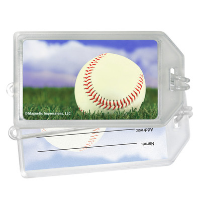 Baseball Sky Photo Plastic Luggage Tag front and back