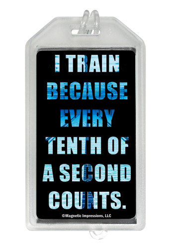 Swimming Tenth of a Second Quote Plastic Luggage Tag front