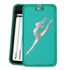 Modern Dancer Leap Luggage Tag in aqua - front and back