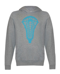 Girl's Youth Lacrosse Head Hoodie Sweatshirt in Heather Gray