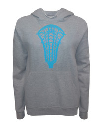 Women's Lacrosse Head Hoodie Sweatshirt in Heather Gray