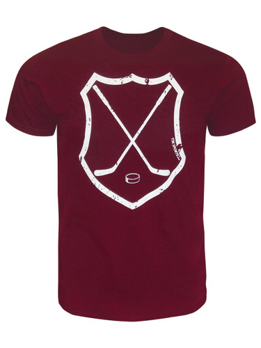 Men's Ice Hockey Crossed Sticks Shield T-Shirt in Maroon