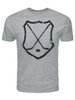 Men's Ice Hockey Crossed Sticks Shield T-Shirt in Athletic Gray