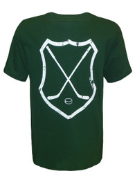 Boy's Youth Ice Hockey Crossed Sticks Shield T-Shirt in Forest Green