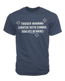 Men's Trigger Warning Shooter with Cannon Quote T-Shirt in navy heather