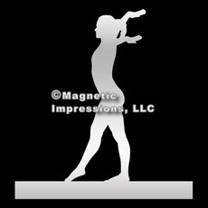 Gymnast Female Car Magnet in Chrome