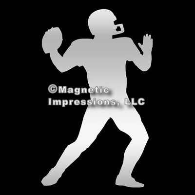 Football Player Car Magnet in Chrome