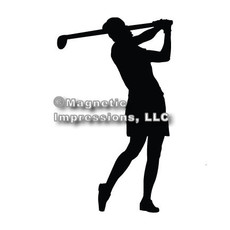 Golfer Women's Car Magnet in Black