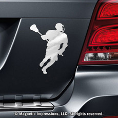 Lacrosse Male Player Car Magnet in Chrome