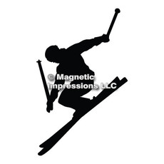 Alpine Skier Car Magnet in Black