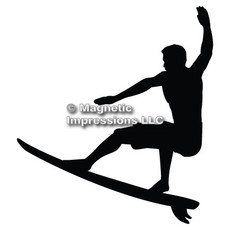 Surfer Car Magnet in Black