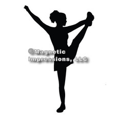Cheerleader Heel Stretch Car Magnet in Black
