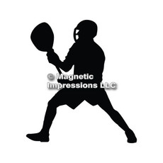 Lacrosse Goalie Male Car Magnet in Black