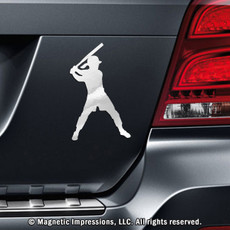 Softball Batter Car Magnet in Chrome