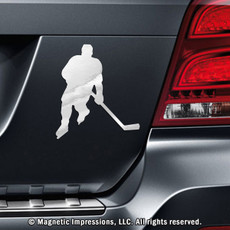 Ice Hockey Player Male Car Magnet in Chrome