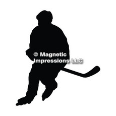 Roller Hockey Player Car Magnet in black