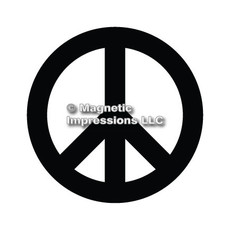 Peace Sign Car Magnet in Black