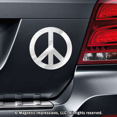 Peace Sign Car Magnet in Chrome