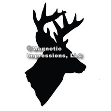 Deer Head Hunter Car Magnet in Black