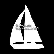 Sailboat Car Magnet in White