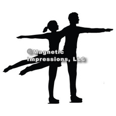 Figure Skater Pairs Car Magnet in Black