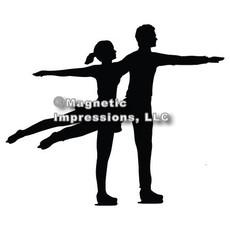 Figure Skater Pairs Car Magnet in Black