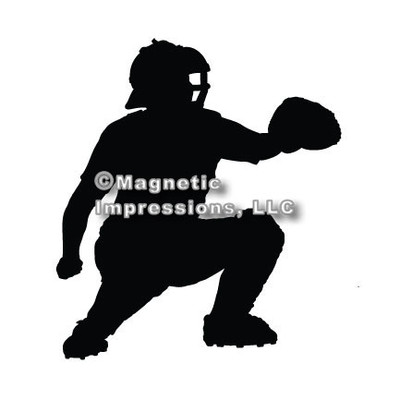 Baseball Catcher Car Magnet in Black