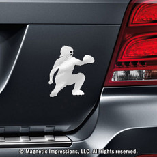 Baseball Catcher Car Magnet in Chrome