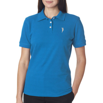 Lacrosse Player Emblem Women's Polo in Blue