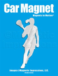 Lacrosse Female Player Pose 2 Car Magnet in Chrome