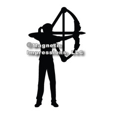 Archery Compound Bow Women's Car Magnet in Black