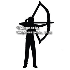 Archery Recurve Bow Women's Car Magnet in Black