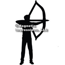 Archery Recurve Bow Men's Car Magnet in Black