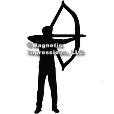 Archery Recurve Bow Men's Car Magnet in Black