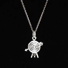 Arrow in Target Archery Sterling Silver Charm Close up