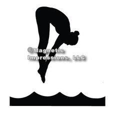 Diver Female Car Magnet in Black