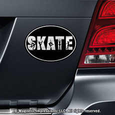 Figure Skate Word Car Magnet Chrome on Car
