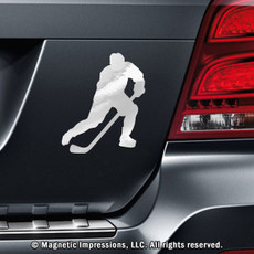Ice Hockey Player Male Car Magnet Pose 3 in Chrome