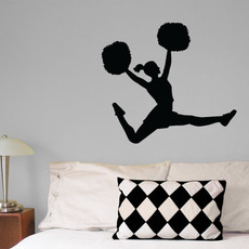 Cheerleader w/Pom Wall Décor in Black