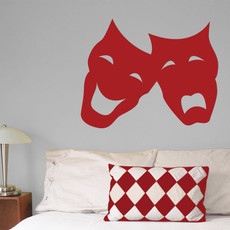 Comedy Tragedy Mask Wall Décor in Red