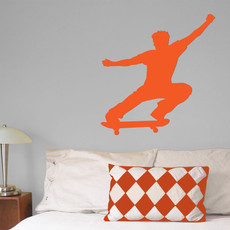 Skateboarder Wall Décor in Orange