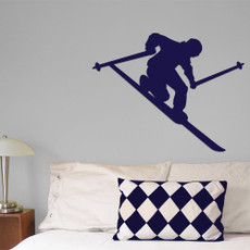 Skier Telemark Wall Décor in royal blue