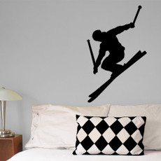Skier Alpine Wall Décor in black