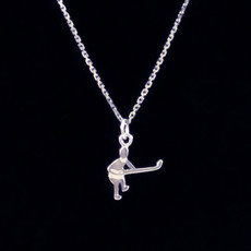 Hockey Player Abstract Sterling Silver Charm