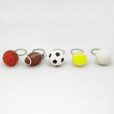 Basketball keychain, football keychain, soccer ball keychain, tennis ball keychain and golf ball keychain