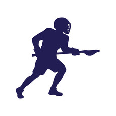 Lacrosse Player Male Car Window Decal in Blue