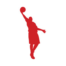 Basketball Player Layup Car Window Decal in Red