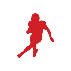 Football Player Running Car Window Decal in Red