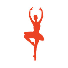 Ballet Dancer Passé Car Window Decal in Orange