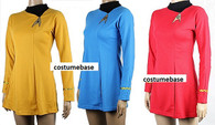 Star Trek Women Classic Gold Red Blue Shirt Adult Costume Uniform